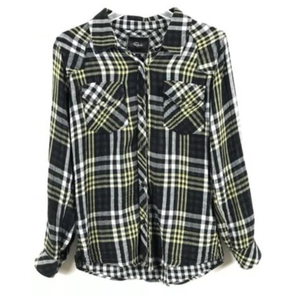 b2629cd5 Rails Black Yellow Plaid Button Up Flannel Shirt. M_5ab188a6a825a694659cc85c